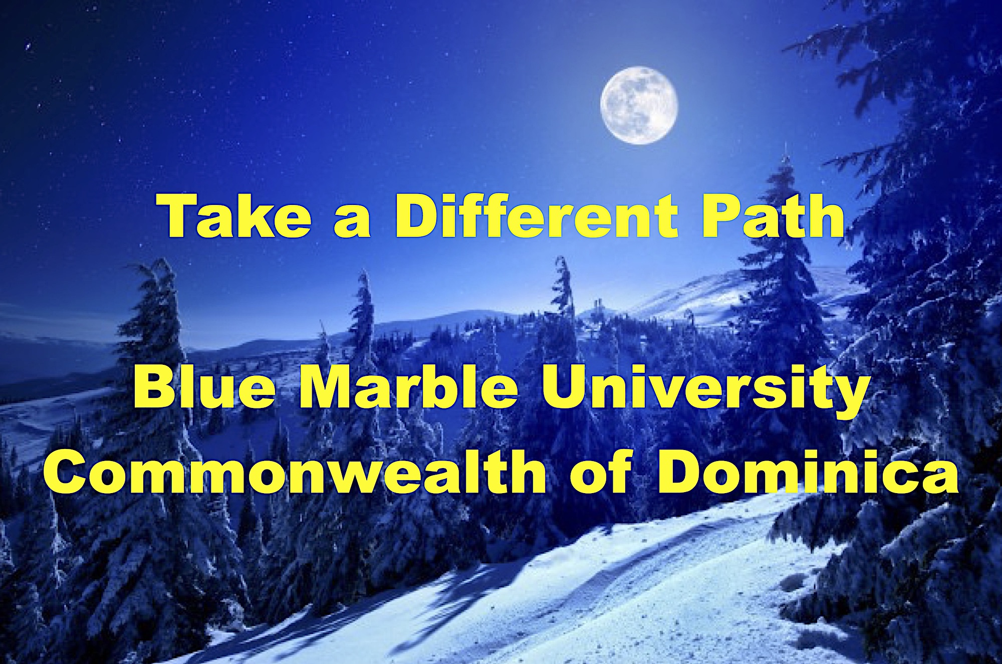 """Take a Different Path. Blue Marble University PhD degrees, as most foreign education degrees, are accepted in the USA as being equivalent to a regionally accredited USA college or university, as determined by a professional foreign credentials evaluation service. Blue Marble University degrees are """"equivalent"""" because they are comprised of a minimum 72 trimester credit hours, the minimum required in the USA. If you were to attend a university overseas, it would not be """"accredited"""". Yet many people with overseas education use that education in the USA. They have their degrees approved as equivalent to a regionally accredited USA college or university by one of the many foreign education credential evaluation services. Because all of our doctoral programs require a minimum of 72 trimester credits of study, they are equivalent to the minimum requirements for a regionally accredited USA college or university doctoral degree. Therefore, graduates of Blue Marble University doctoral programs are qualified for most state and federal jobs based on our degree being equivalent to a USA doctoral degree. Graduates can if needed and for a nominal fee usually receive a certificate from various foreign credential evaluators to the effect that the doctoral degree issued by Blue Marble University is equivalent to a doctoral degree issued by a regionally accredited USA college or university."""
